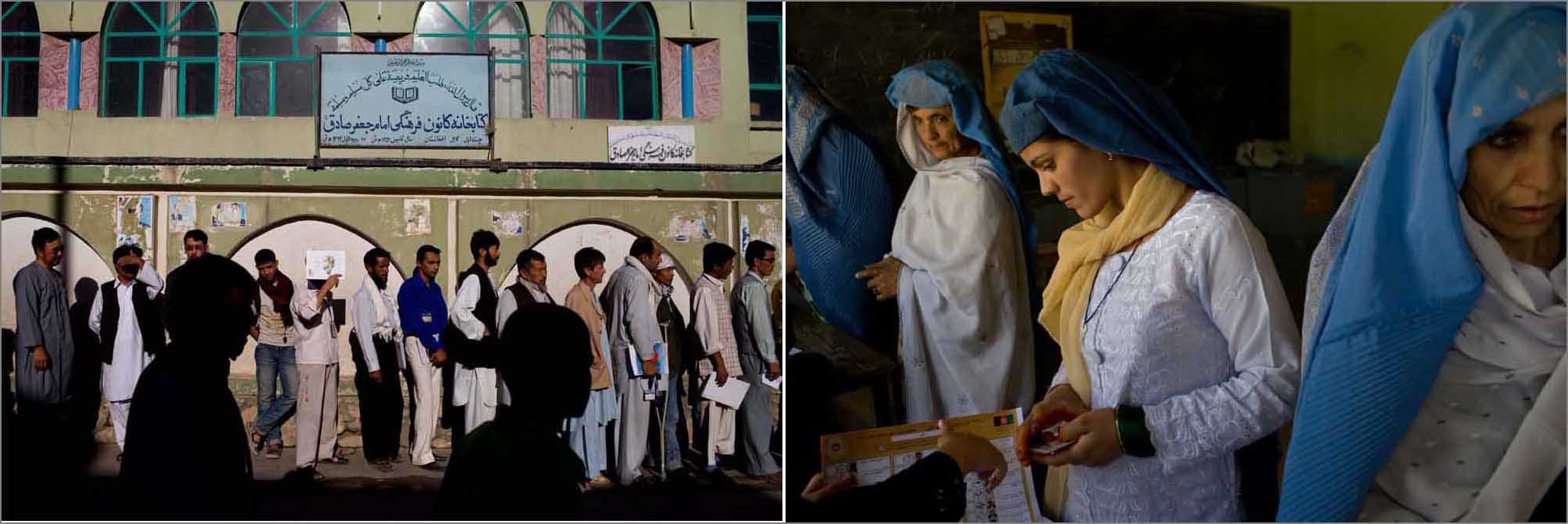 (l) Men stand in line to cast their ballots while taking part in Afghanistan's presidential election in Kabul on August 20, 2009.(r) A group of women vote in a classroom in Kabul, Afghanistan, August 20, 2009.