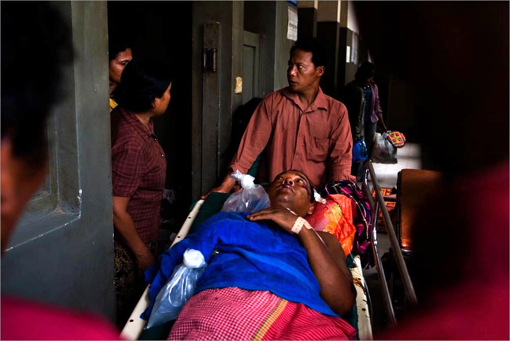 Substandard health care, exacerbated by unsanitary conditions, high heat, and unclean water, can in some cases worsen the health of those seeking treatment, July 2008, Siem Reap, Cambodia.