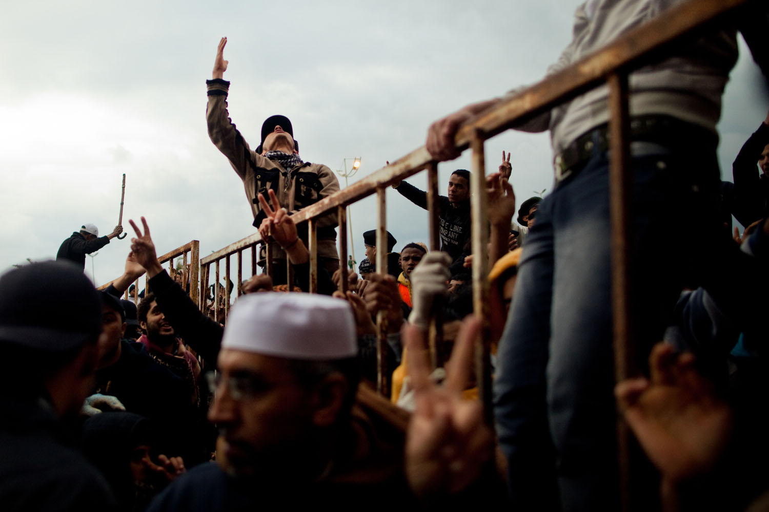 Anti-Gaddafi protesters chant slogans during a protest in Benghazi.