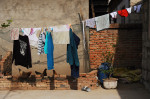 Chicken coop and line drying clothes of Li Chuan-hua family in the courtyard of his home. Lin Yi-City, Shandong Province, China.