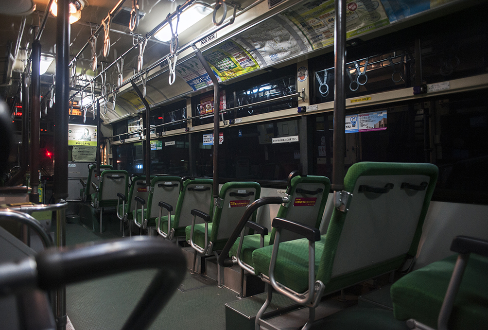 Empty public bus enroute to Sendai from near Yuriage district, where the 3.11 earthquake and Tsunami take a heavy toll. Miyagi prefectuer.