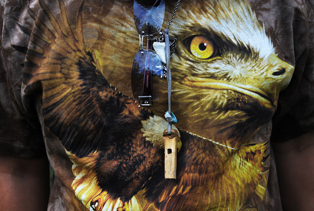 A close look of soaring raptor T-shirt and merchandise at occasional Tokyo Falconer's community gathering in Kiba Park on the weekend. They often gather together at the park on the weekend to strength their bond of raptor love. 2011, Koto-ku, Tokyo, Japan.