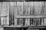 Well-prepared shutters made of planks for storms and typhoons, Nakanogo district.