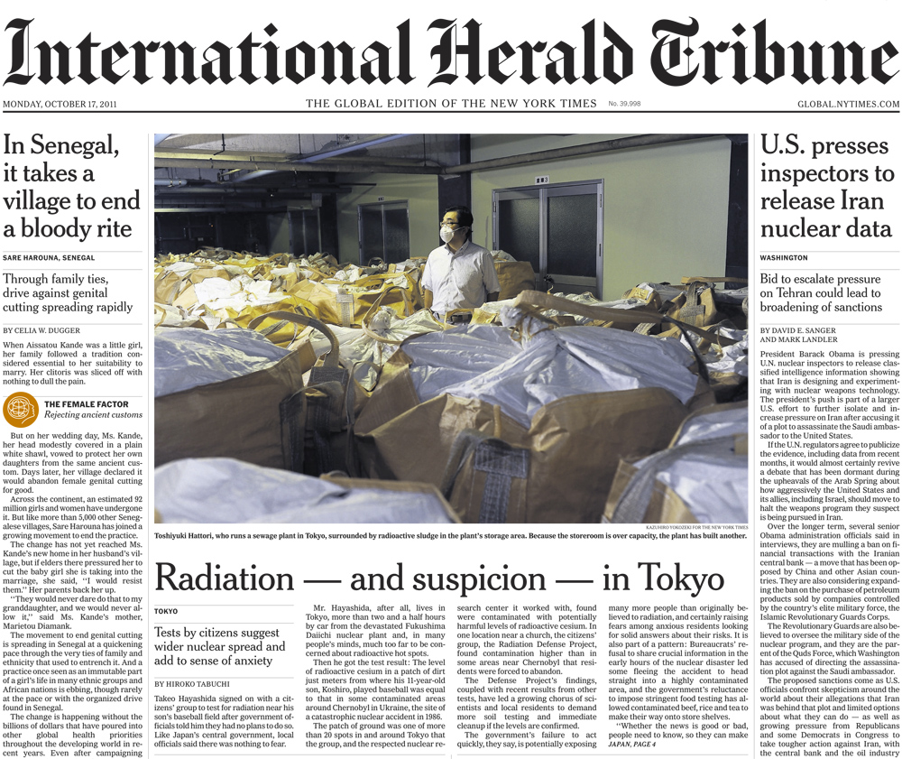 The International Herald Tribune (The Global edition of The New York Times), October 17, 2011