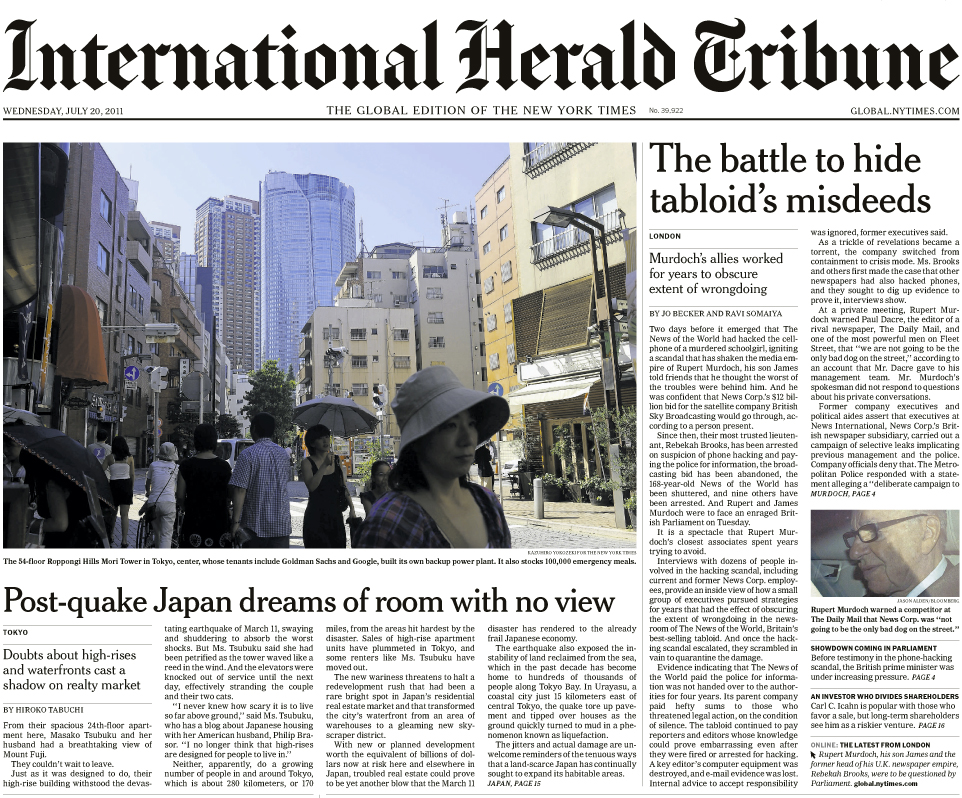 The International Herald Tribune (The Global edition of The New York Times) July 20, 2011