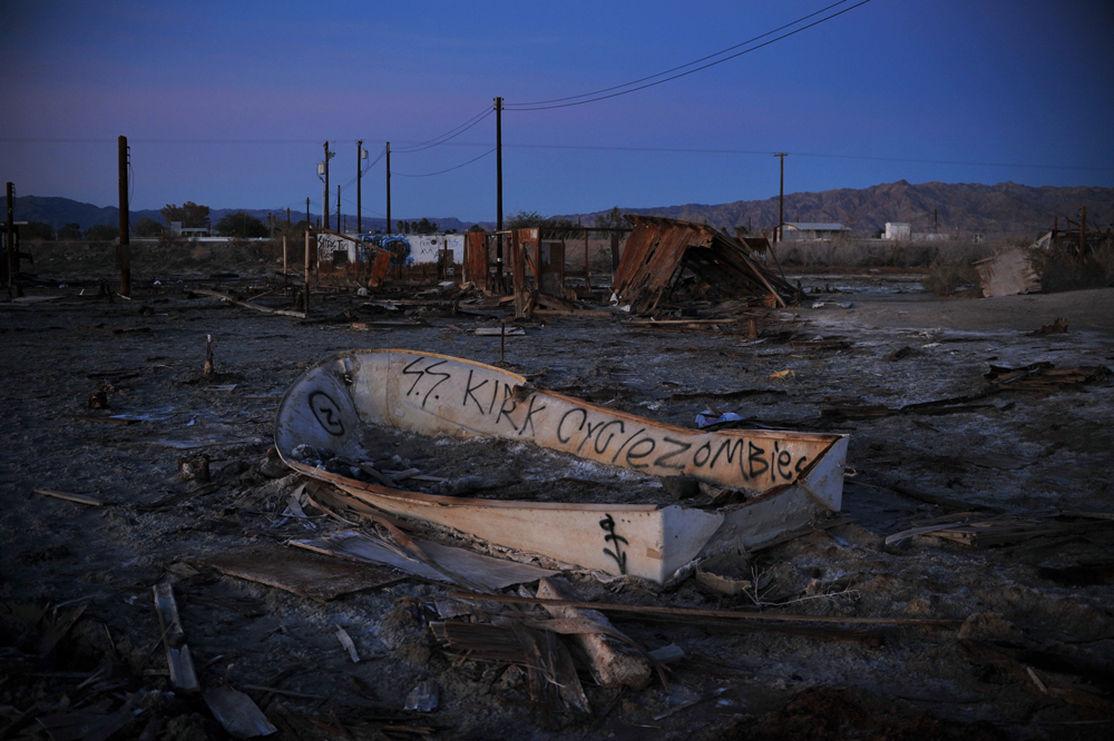The ruins of a residential community, Bombay Beach, east of the Salton Sea.
