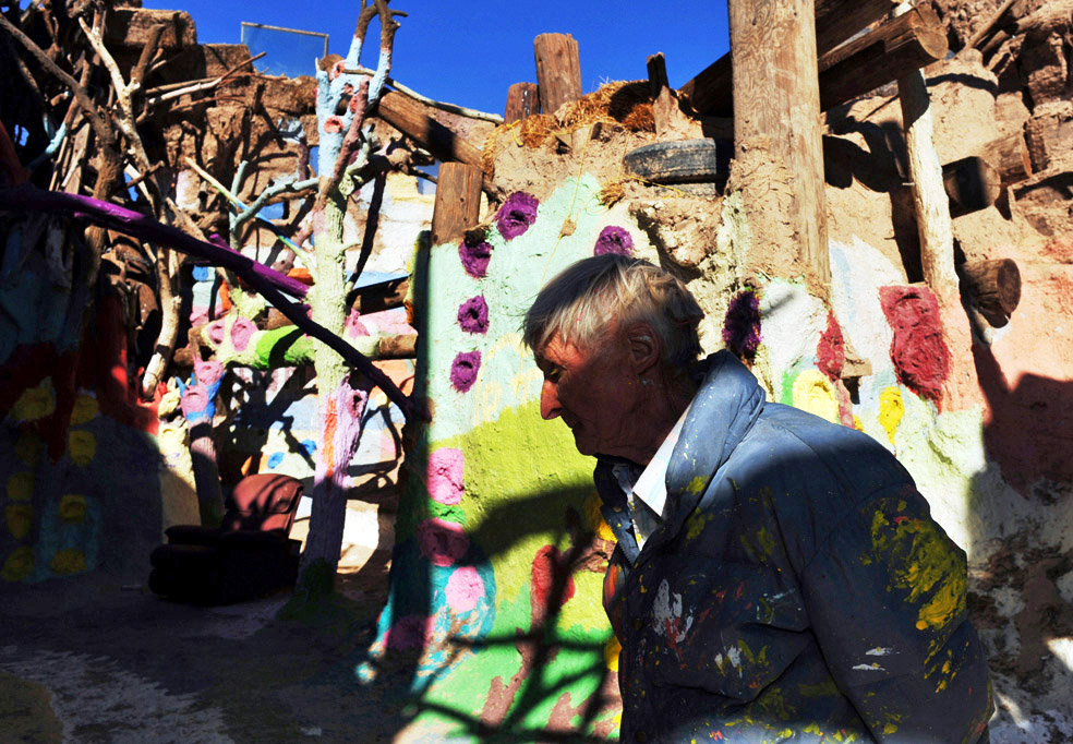 Leonard Knight,79, self-claimed messenger from God and proprietor of Salvation Mountain in Slab City, Niland, 2 miles southeast of the Salton Sea. It is an epic colorful art installation which conveys the message that {quote}God Loves Everyone.{quote}  Leonard Knight gives a quick tour to visitors as many as 50 people a day. He has been living in the desert without gas,electricity and running water since 1984. In 2002, Salvation Mountain was placed under protection when California Senator Barbara Boxer entered it into the Congressional Record as a national treasure.