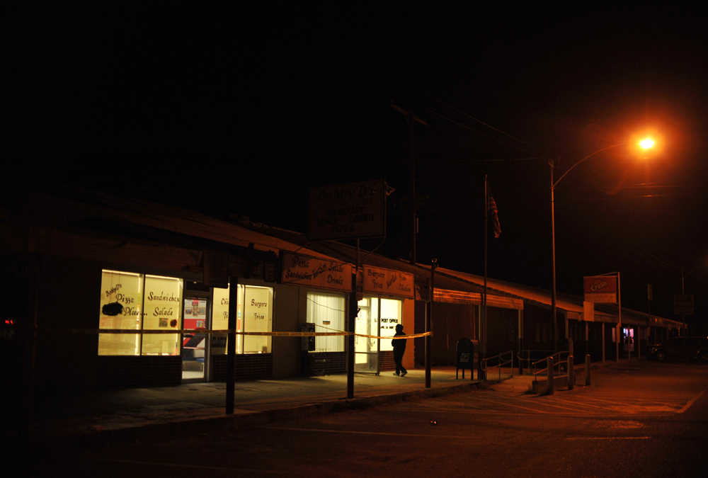 Downtown Niland at night. Some of the stores were burned to the ground and the cause is under investigation.