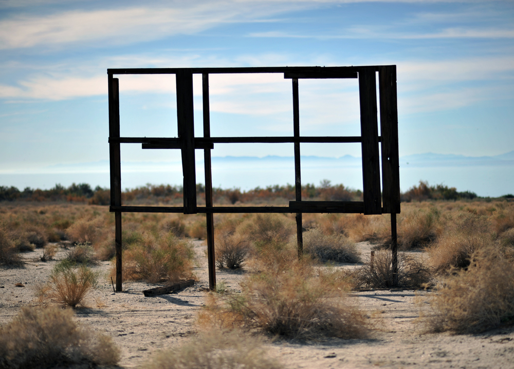 An abandoned signboard, near the Salton Sea's Headquarters Campground.