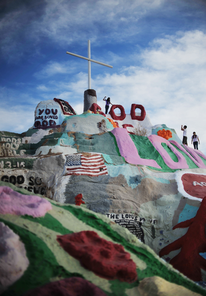 Salvation Mountain in Slab City, Niland, 2 miles southeast of the Salton Sea. It is an epic colorful art installation which conveys the message that {quote}God Loves Everyone.{quote}  The mountain has become a kind of piligrimage site. As many as 50 people a day visit this site.  In 2002, Salvation Mountain was placed under protection when California Senator Barbara Boxer entered it into the Congressional Record as a national treasure.