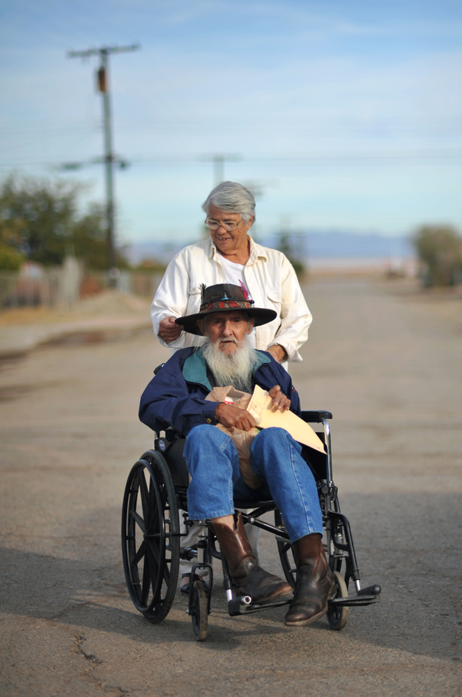Jim,76, and Virginia Forgea,63, have lived in Bombay Beach since 1998. They don't own a car, but their son helps them out. Jim is a native American. {quote}You can swim there, but you have to wash your body thoroughly after swimming,{quote} warned Virginia Forgea.