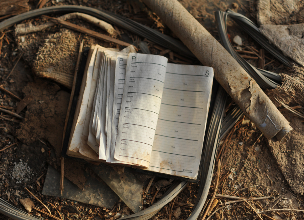 Discarded address book in an abandoned house, Bombay Beach.
