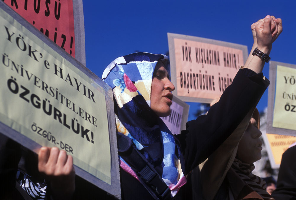 Muslim students protest against Istanbul University's Hijab (headscarf) ban.