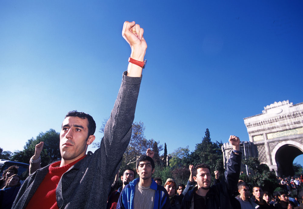 Student protest on Istanbul University campus.