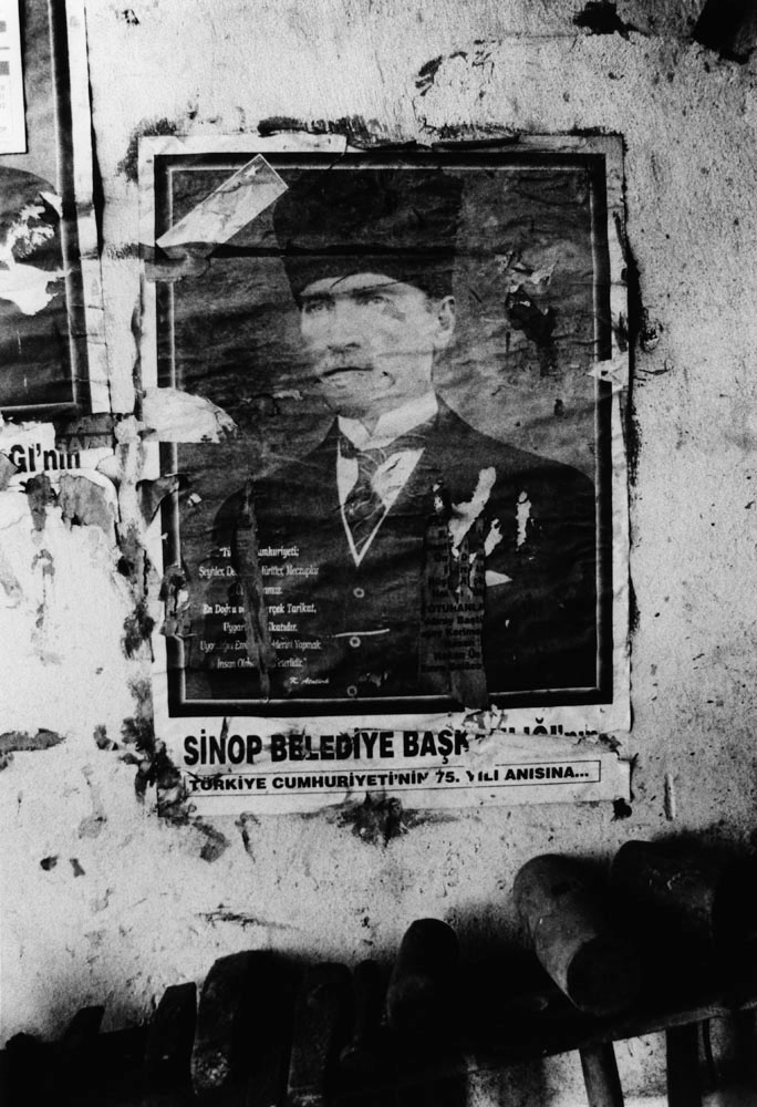 A protrait of Mustafa Kemal Ataturk in a blacksmith's shop, Sinop.