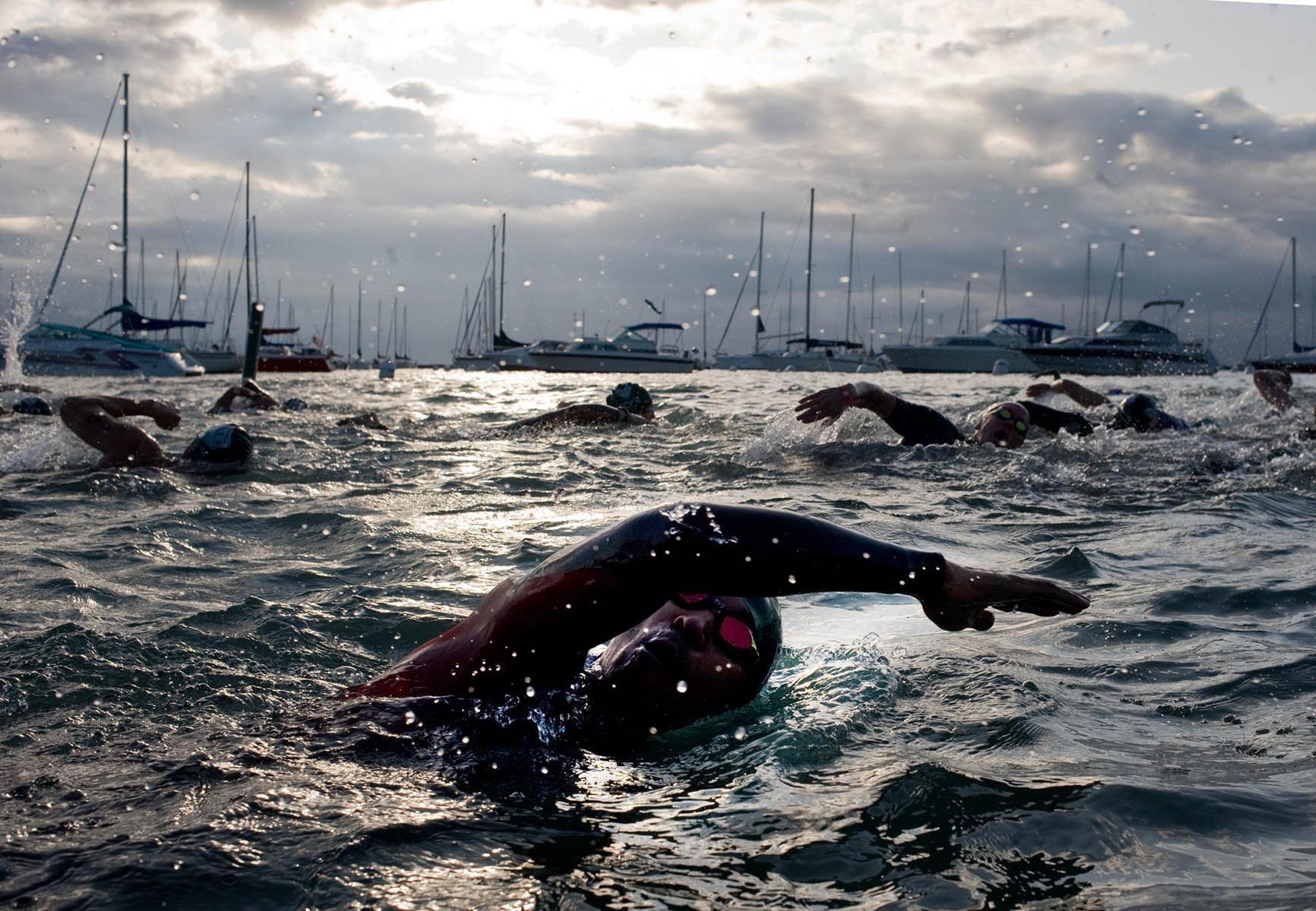 Triathlon swimmers in Burnham Harbor.
