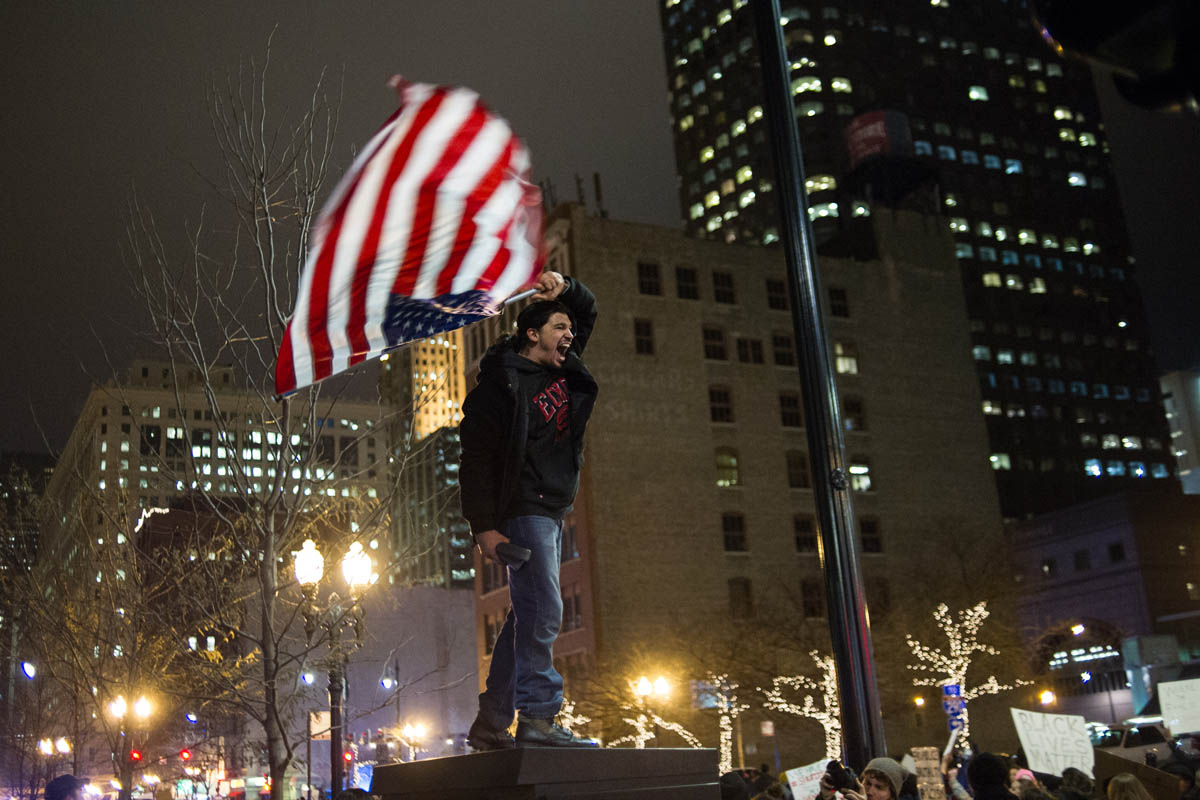 A protestor during Ferguson demonstrati0ns in downtown Chicago's south west Loop area.
