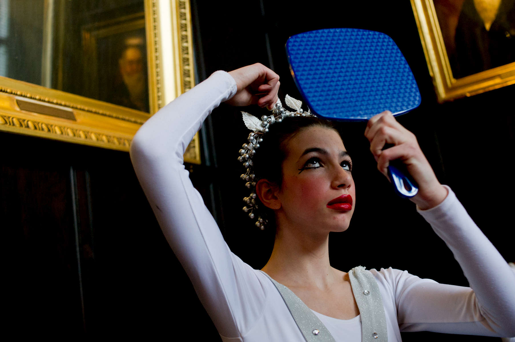 A Hyde Park School of Dance student prepares for the Nutcracker.