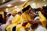 A Marshall High School student and her daughter before graduation ceremonies.