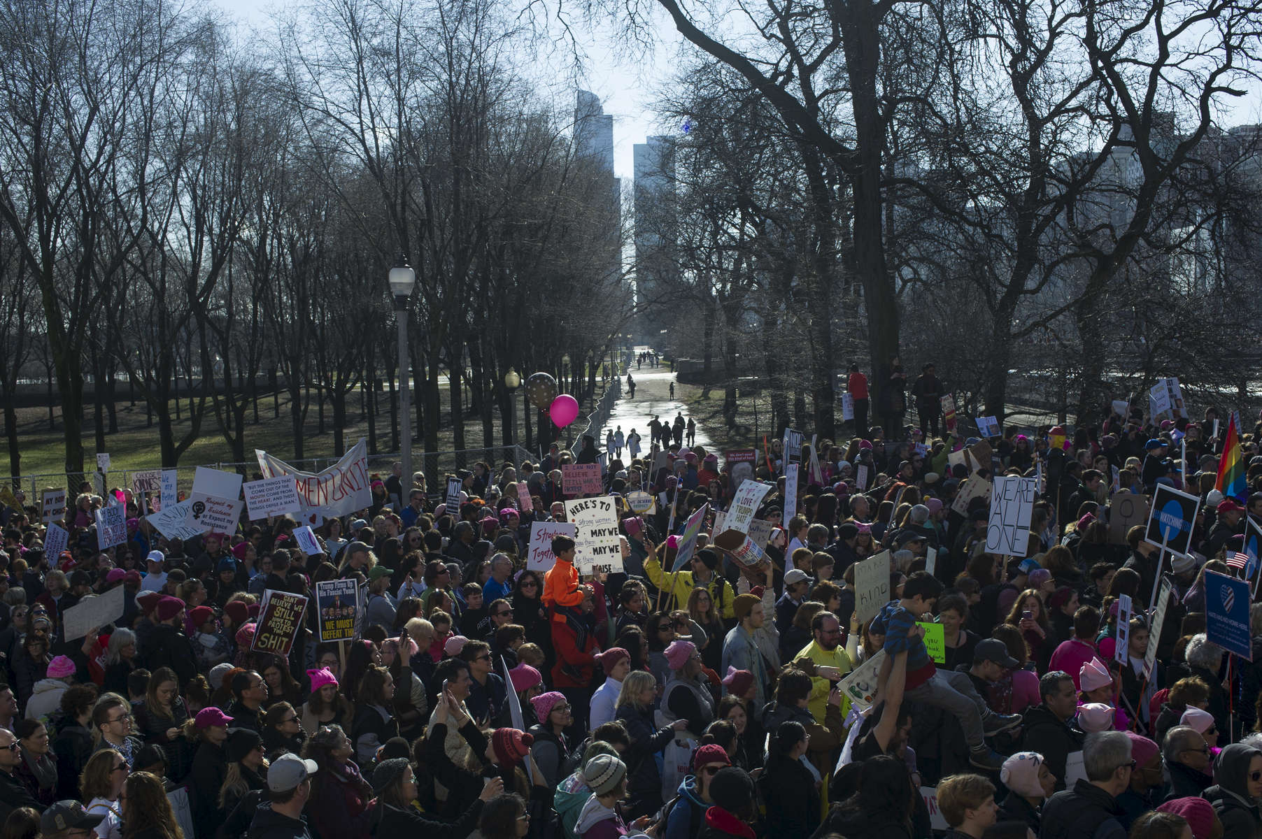 Marchers leave Grant Park and move into Chicago's loop during the Women's March, January 21, 2017.