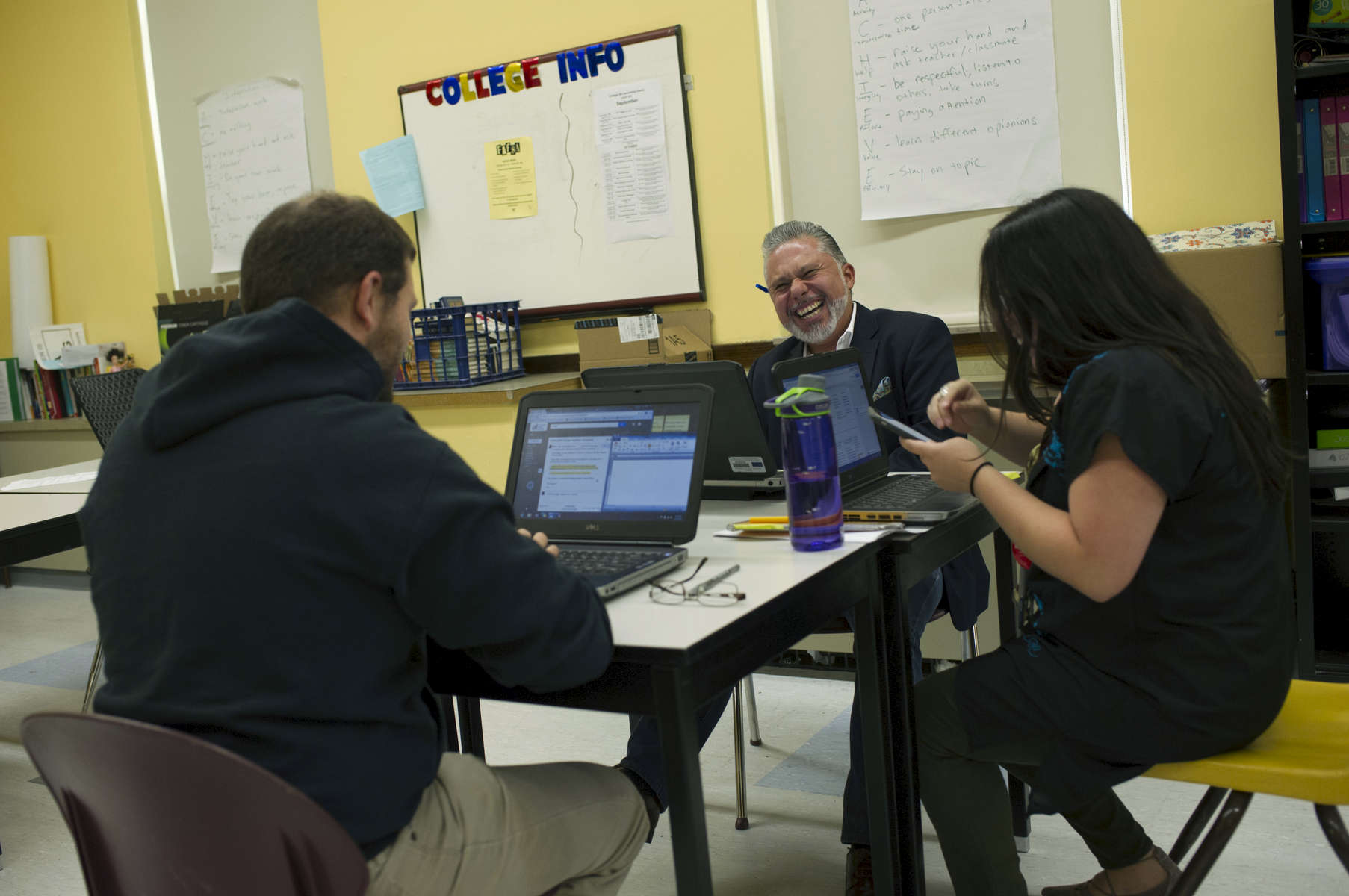 Ray Salazar meets with fellow English teachers for a monthly planning session at John Hancock College Prep High School October 3, 2016.
