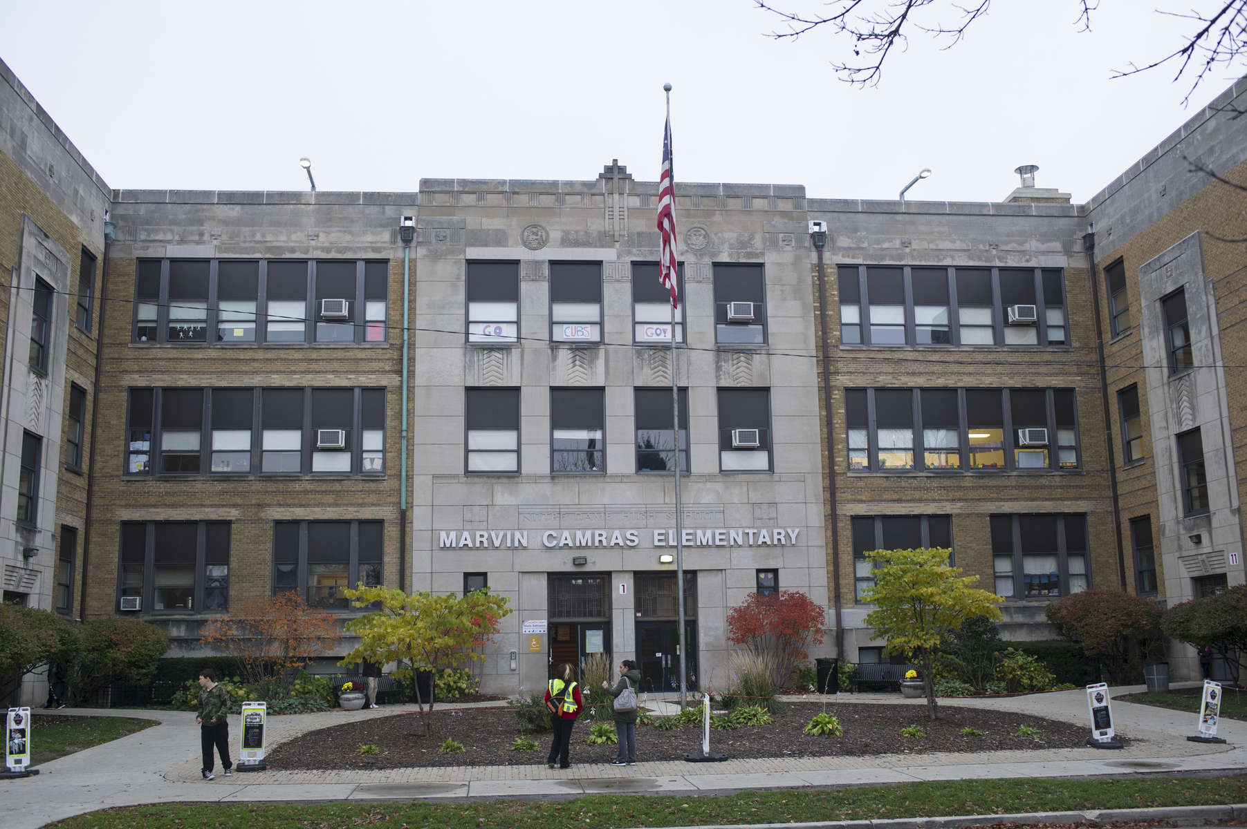 The front entrance of Marvin Camras Children's Engineering School as seen from the east side of the 3000 block of Mango Avenue in the Belmont Cragin neighborhood of Chicago, November 3, 2016.