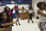 Biology teacher Kyera Bradley meets with the school's dance team in her room after school as they practice some routines at Noble Charter Schools - Johnson College Prep, November 8, 2016.