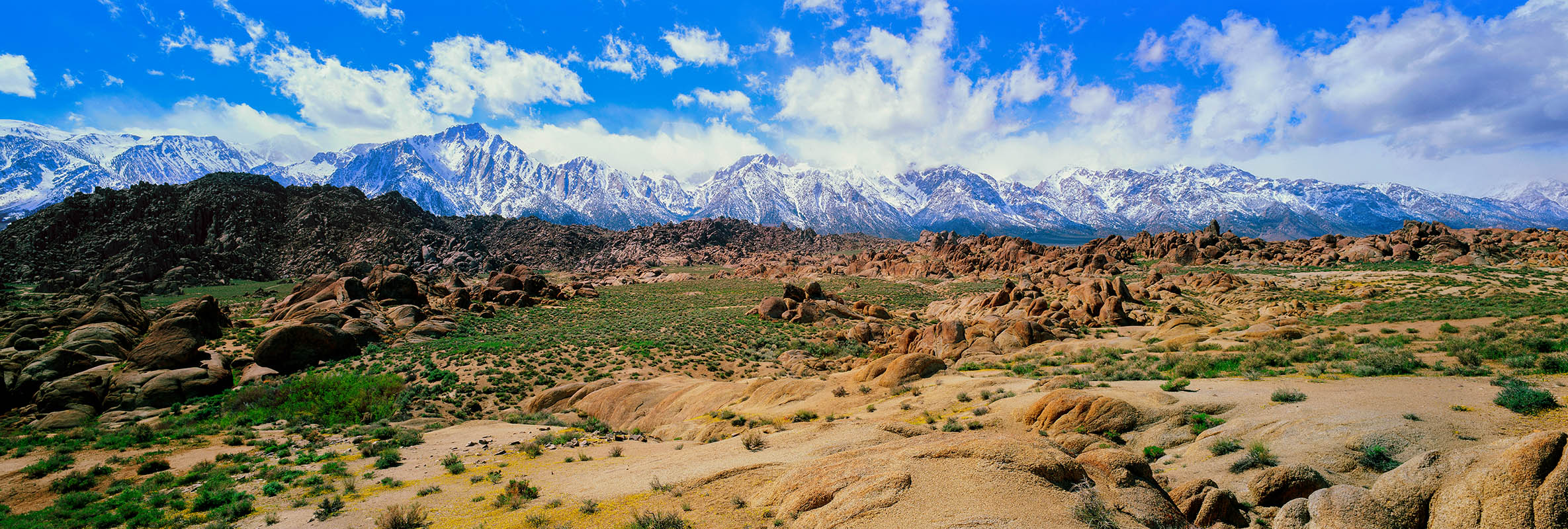 Spring snow on the southern Sierra Nevada as seen from the Alabama Hills.