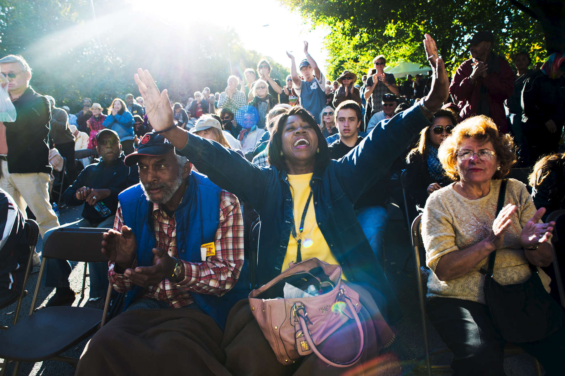 Revellers enjoy the Hyde Park Jazz Festival on the Midway.