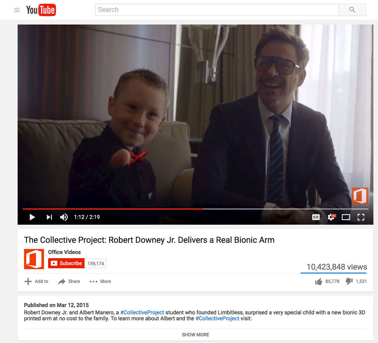 Microsoft Office Collective project with Robert Downey Jr. and Albert Manero, a student who founded Limbitless. They surprised a very special child with a new bionic 3D printed arm at no cost to the family. The video had over 42M views in 24 hours on Facebook and over 10M views on Youtube generating 1 Billion impressions globally through all earned media channels.