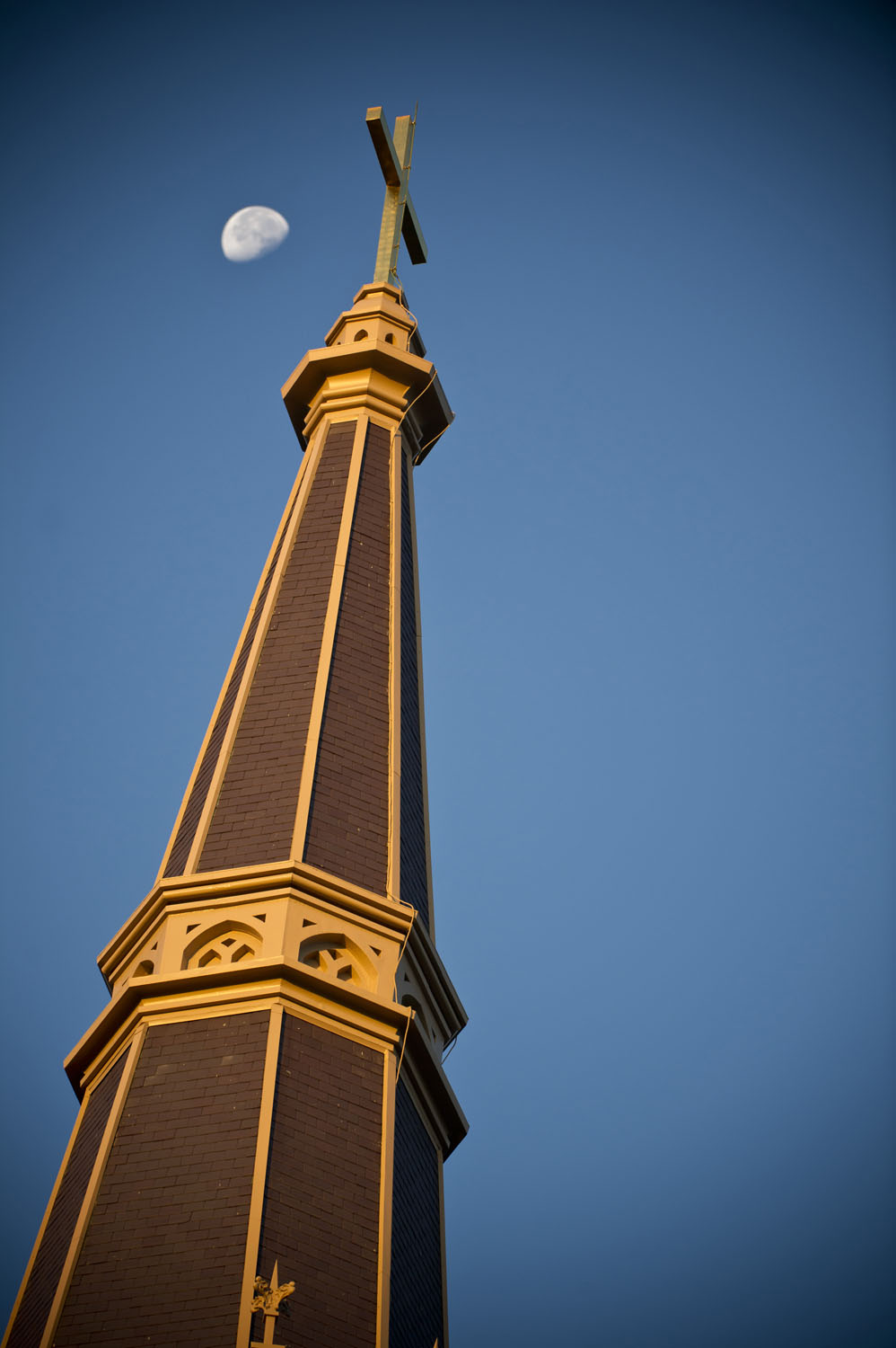 Steeple of the Basilica of the Sacred Heart at sunrise