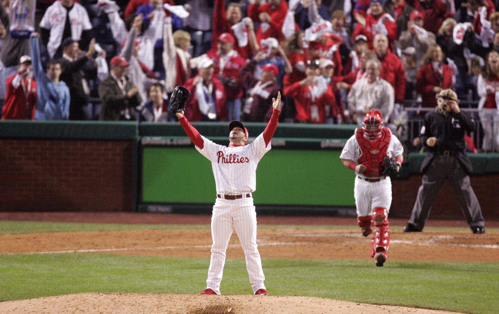 Philadelphia Phillies J.C. Romero reacts after striking out Rocco Baldelli to end Phillies 10-2 victory against Tampa Bay Rays in Game 4 of the World Series .