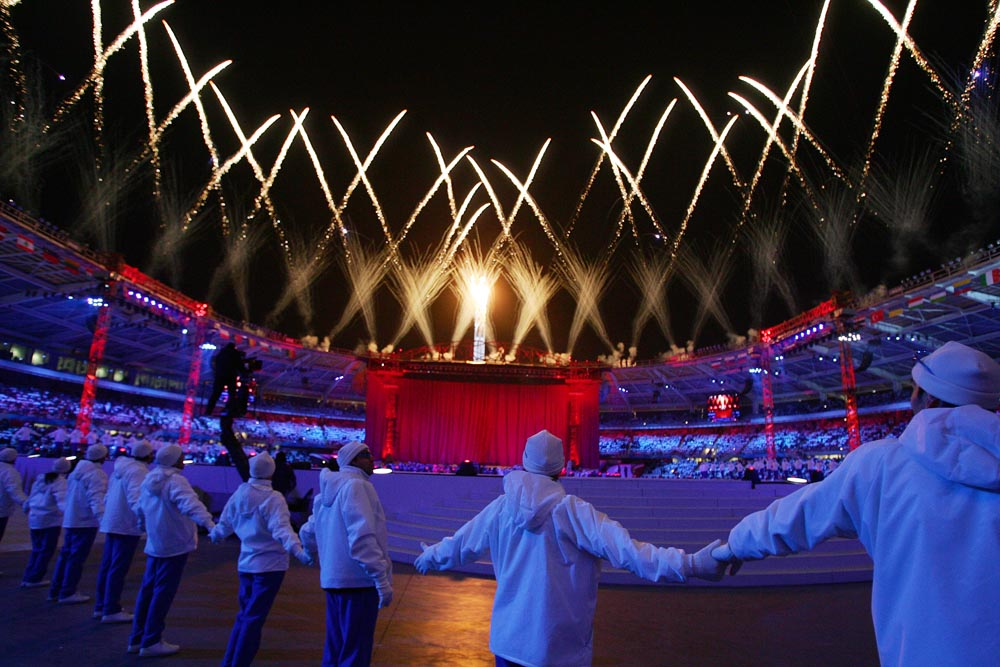 Fireworks blast over Olympic Stadium at the end of the opening ceremonies for the 2006 Winter Olympics in Turin, Italy.