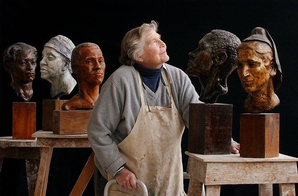 Sculptor and art teacher Holly Appel Silverthorne with some of her work in her studio at the Chester County Art Association in West Chester, Pa.