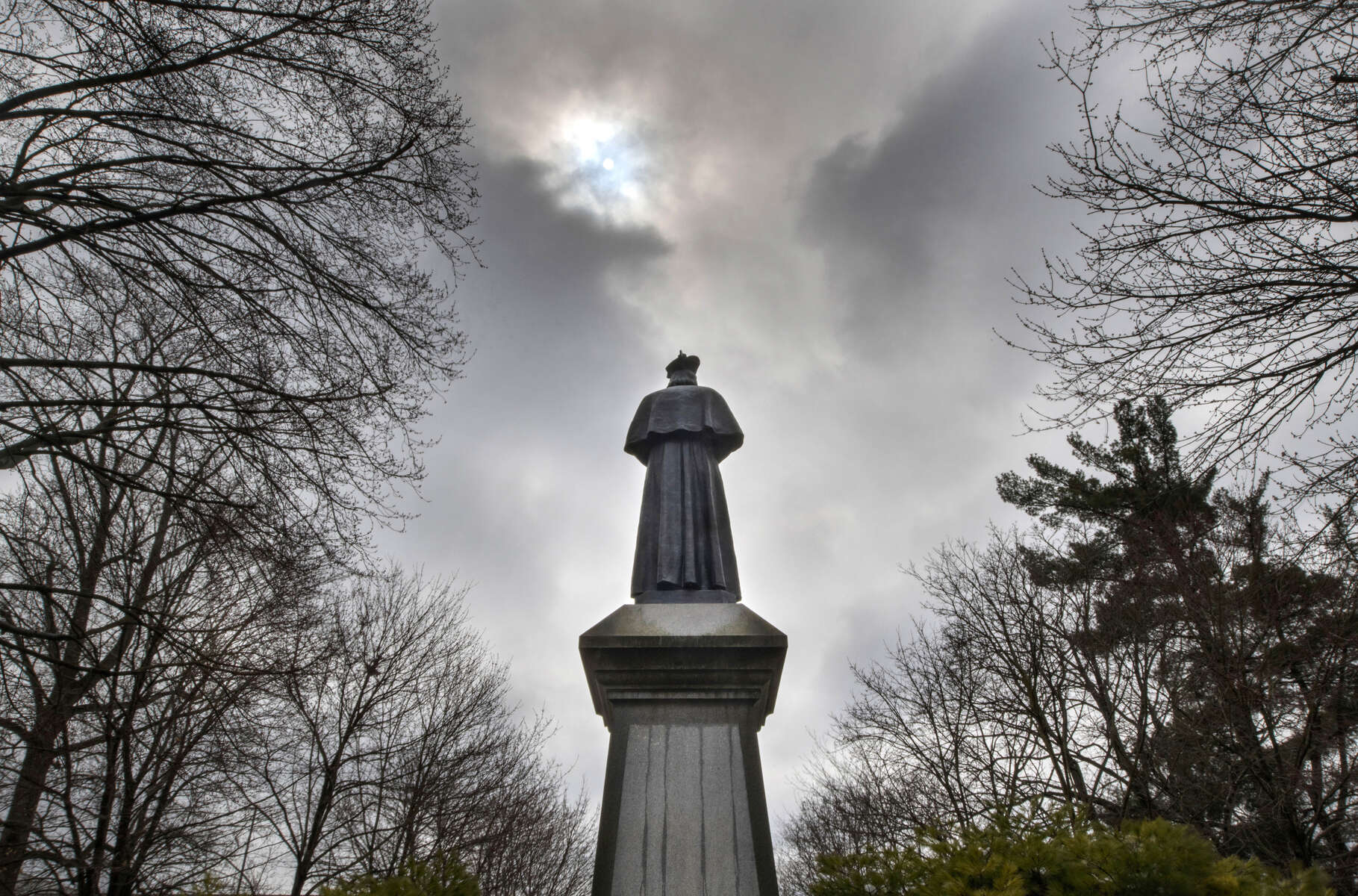 March 23, 2020; Fr. Sorin statue on the main quad after a snowfall. (Photo by Barbara Johnston/University of Notre Dame)