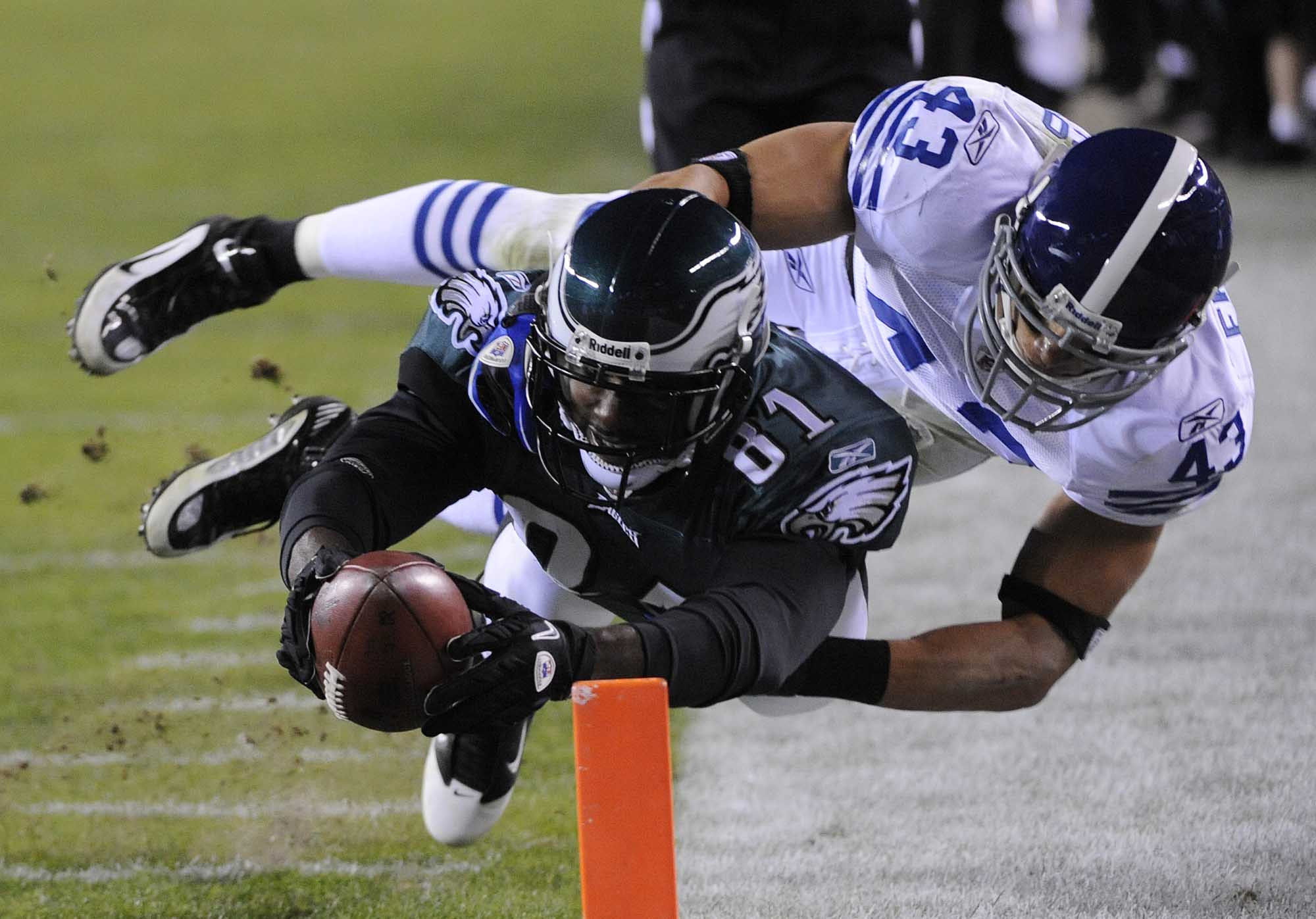 Eagles wide receiver Jason Avant is tackled a yard short of he goal line by Indianapolis Colts defensive back Aaron Francisco during the fourth quarter.