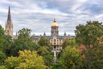 Fall foliage frames the Main Building and the Basilica of the Sacred Heart.