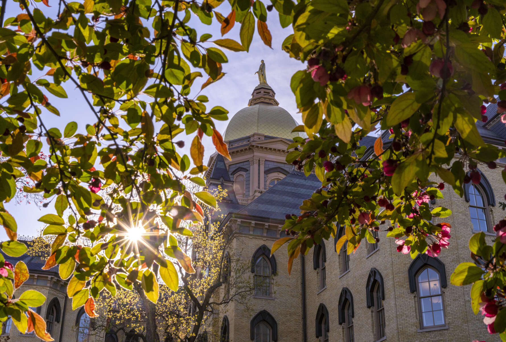 May 6, 2020; The Main Building, spring 2020. (Photo by Barbara Johnston/University of Notre Dame)