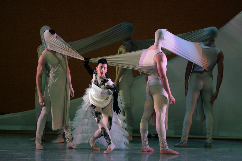 "Pennsylvania Ballet dancer Tara Keating performs during dress rehearsal for ""Carmina Burana"" at the Academy of Music in Philadelphia."