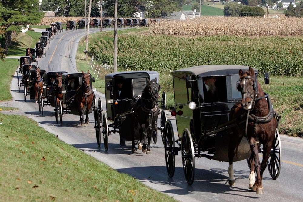 An Amish funeral procession moves along Mine Road towards Bart Cemetery, after the service of Naomi Rose Ebersol, the first of three services for four of the victims in Bart Township, Lancaster County, Pa. on October 5, 2006.