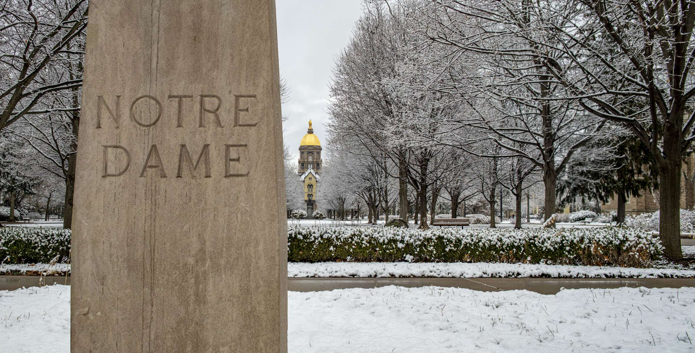 January 4,, 2020; The Main Building and Golden Dome after a snowfall.  (Photo by Barbara Johnston/University of Note Dame)