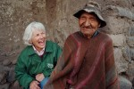 In the highlands, Sister Patricia Gootee jokes with a Quechua man she has known for many years.