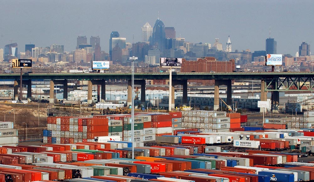 Stacked containers in the container yard at Packer Avenue Marine Terminal in South Philadelphia.