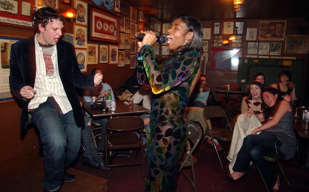 Lisa Thompson, 30, a transsexual from Philadelphia, dances with a young man from the audience during Drag Show Night at Bob & Barbara's on 15th and South Streets.