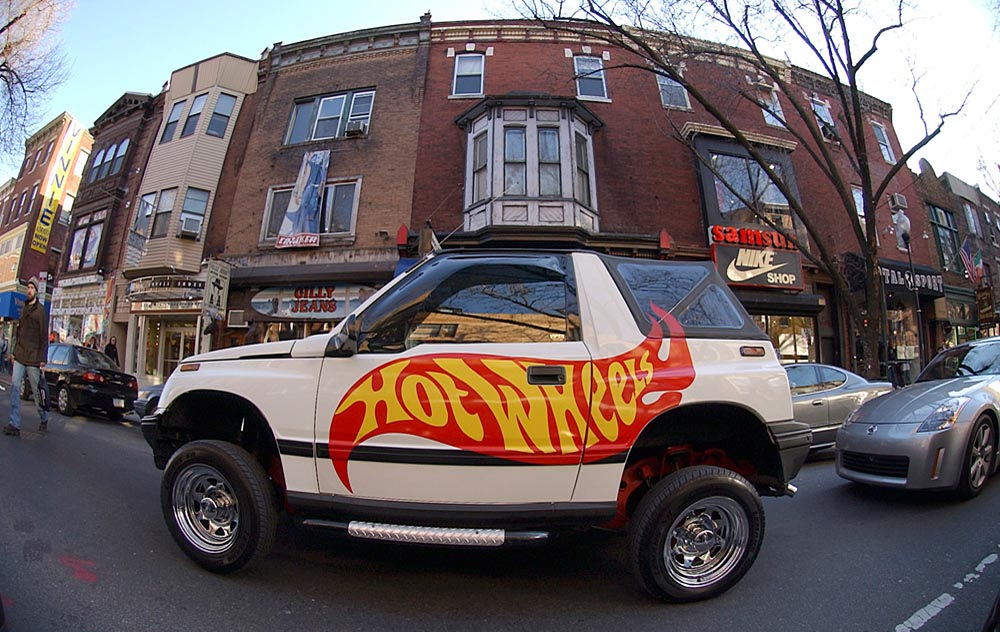 Kevin Kinney, 36 of Willingboro, New Jersey, cruises down South Street in his 1993 Geo Tracker, equipped with hydraulic cylinders.