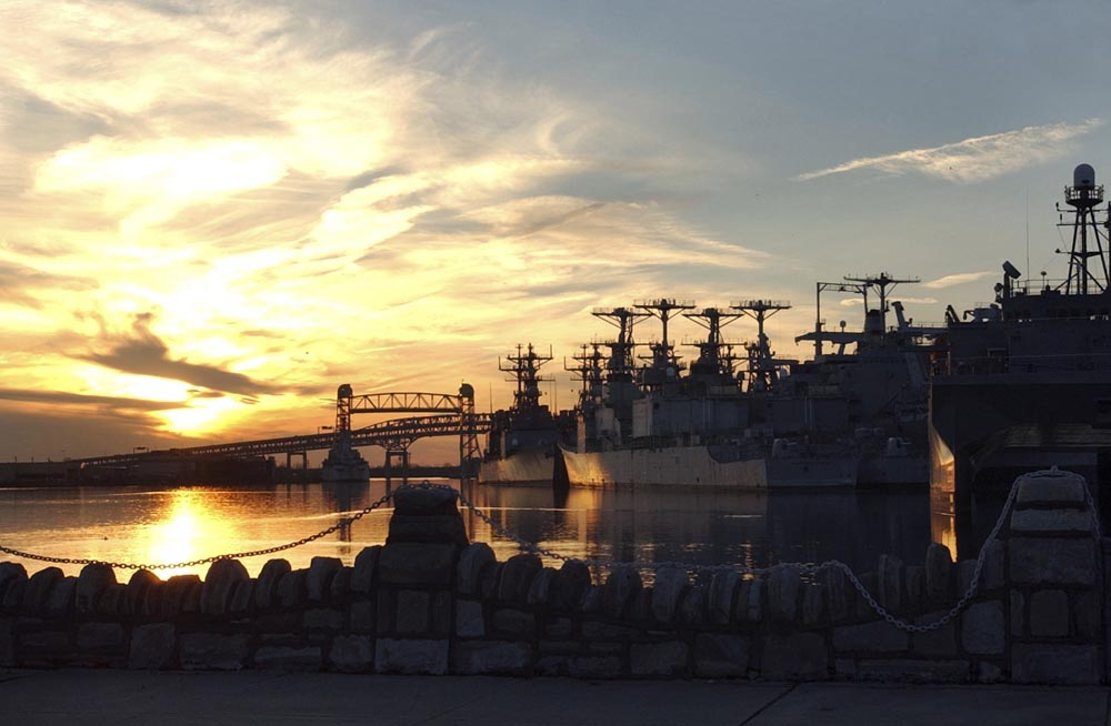 Inactive ships docked at the Reserve Basin of the Navy Yard.