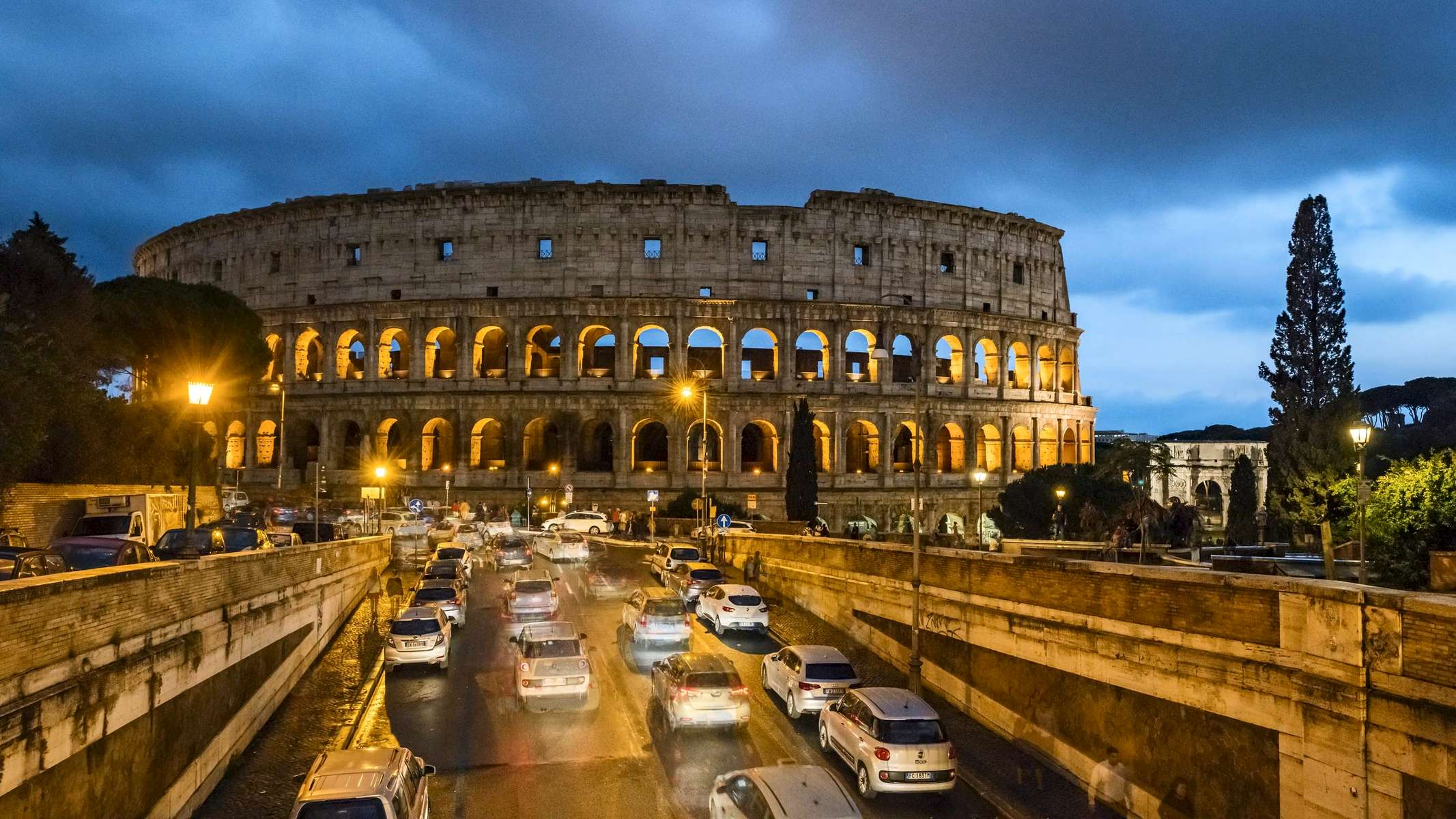 Traffic at the Colosseum in Rome.