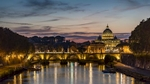 Timelapse of Tiber River and the Vatican City in Rome.