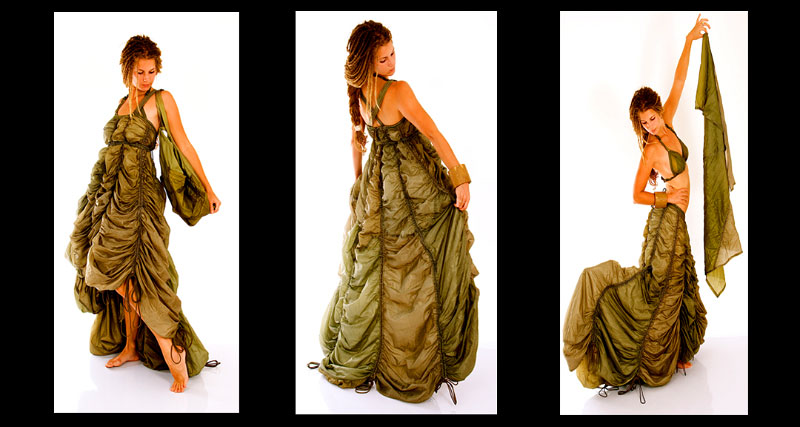 Green adjustable {quote}Curtain dress{quote}, can also be worn as long skirt (right) 1,600$. {quote}Scarf{quote} 70 $. {quote}Bra{quote} 50 $.