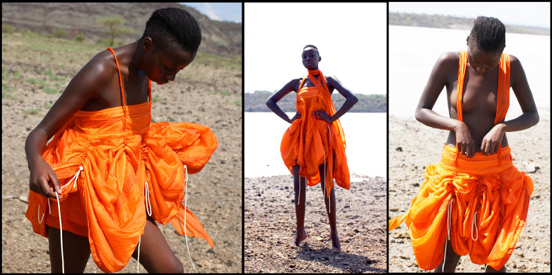 Orange adjustable {quote}Curtain skirt{quote} worn as top/dress left/middle 520$.